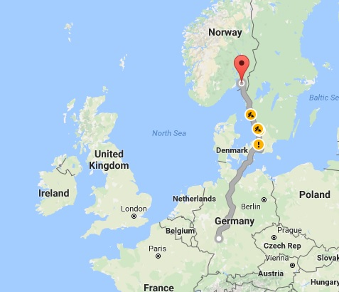 Route of the spare parts to Norway